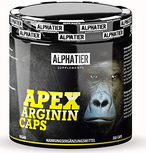 L-ARGININ Kapseln hochdosiert + vegan - reines L-Arginine Base - fermentiert - 360 Caps ohne Magnesiumstearat + Gelatine - Pump Effekt - Premiumqualität - Sport Supplement