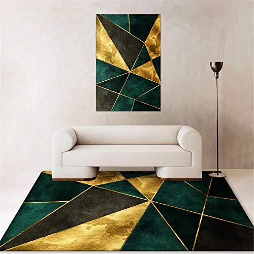 Kunsen Meble do pokoju młodzieżowego, do sypialni, dywan zielony, złoty, miękki, dekoracja salonu, na balkon, dywan zewnętrzny, nadaje się do prania 200 x 300 cm, 6,7 x 9 ft 10,1