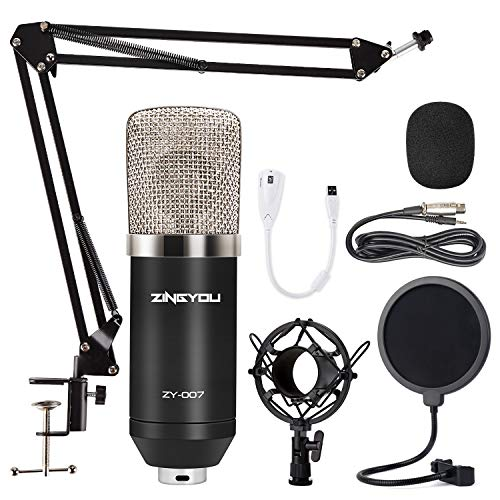 Condenser Microphone ZINGYOU ZY-007 Professional Cardioid Mic Bundle for Pc/Laptop Recording Studio YouTube Podcast Vocal Broadcasting Gaming with...