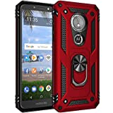 Military Grade Drop Impact for Motorola Moto E5 Case,[Moto G6 Play Case] 360 Metal Rotating Ring Kickstand Holder Magnetic Car Mount Armor Heavy Duty Shockproof Cover Moto E5/G6 Play Case (Red)
