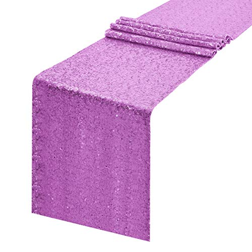 Pufogu 12 x 108 inches Lavender Sequin Table Runner, Glitter Lavender Table Runner for Wedding Birthday Bachelorette Holiday Party Supplies Decorations Bridal Shower Baby Shower(1 Pack)