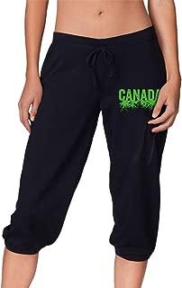 YOULUCK-7 Canada Roots Women's Capri Pant, Cropped Jogger Sweatpants