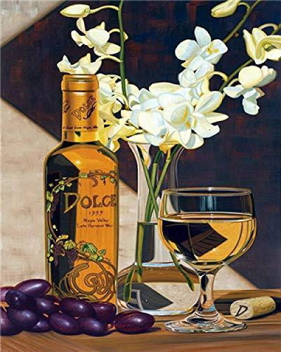 Verf door nummers Kits Wijnglas Schilderij Schilderij Muurkunst Foto Tekenen met Borstels Decor Decoraties Geschenken (Zonder Frame) 16 * 20 Inch