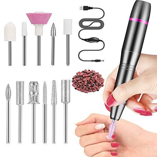 Fresa per Unghie Kit Professionale per,Velocità Regolabile,11 Lime e 6 Cilindri abrasivi, Trapano Elettrico Portatile per Manicure e Pedicure(nero)