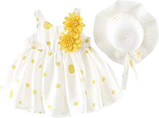 Fairy Baby Baby Girls Summer Dress Polka Dots Beach Sundress Pleated A-line with Hat Set