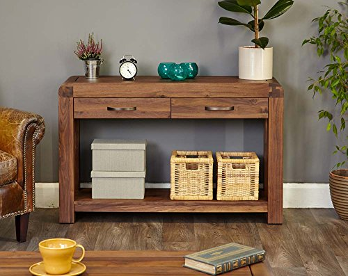 Shiro Walnut 2 Drawer Console Table with Satin Walnut Finish | Solid Wooden Hall/Side/End/Telephone Table with Drawers