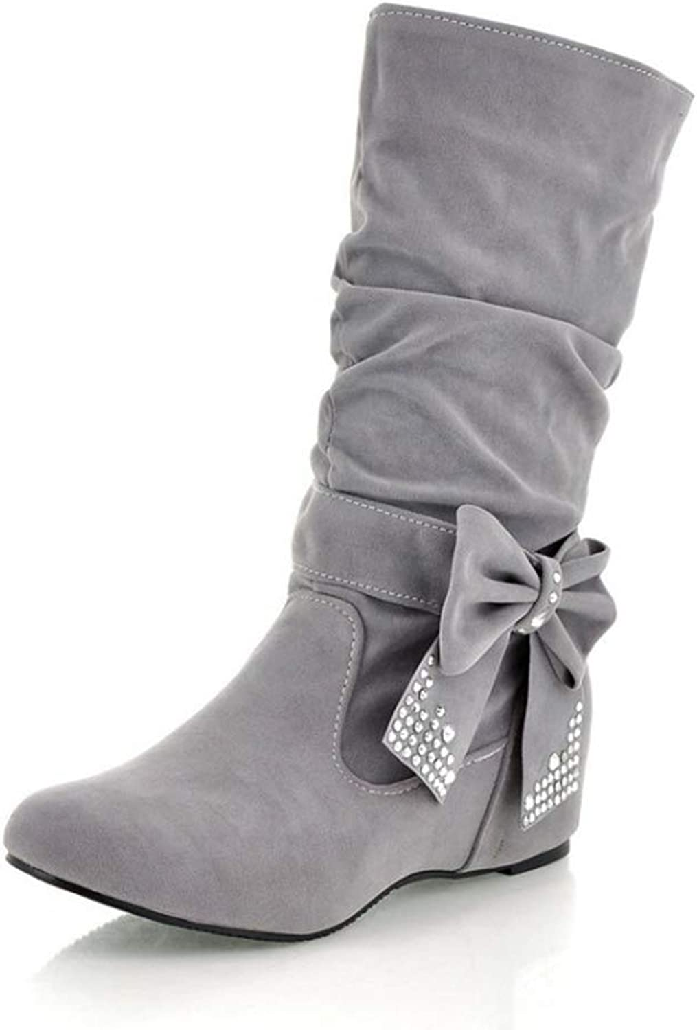 Sam Carle Women Boots, Fashion Solid color Bow Detachable Slip On Round Toe Mid-Calf Boots