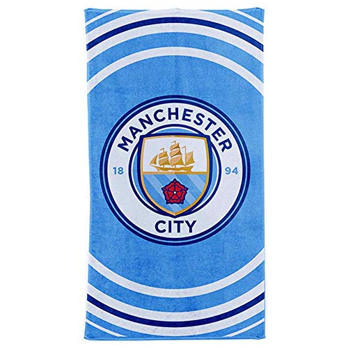MCFC Großes Strandtuch mit Manchester City Fußballwappen (100 % Baumwolle, 70 x 140 cm)