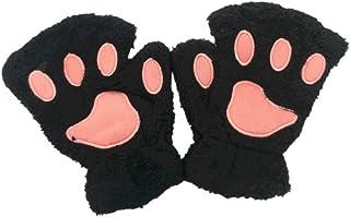 Gecheer Women Super Lovely Bear Plush Cat Claw Glove Soft Winter Fingerless Mitten Gloves