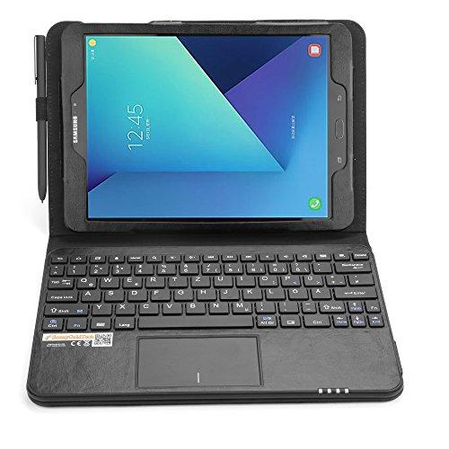 MQ für Galaxy Tab S3 9.7 - Bluetooth Tastatur Tasche mit Multifunktions-Touchpad für Samsung Galaxy Tab S3 9.7 LTE SM-T825, WiFi SM-T820 | Hülle mit Tastatur für Tab S3 | Tastatur Deutsch QWERTZ