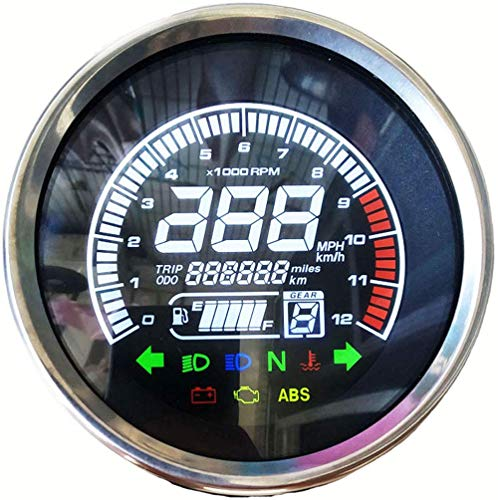 BLUERICE Real Color Digital Motorcycle Speedometer LED Universal Speedometer Odometer Motorcycle Gauge Water Temperature Gauge 299 Kph Mph with Bracket