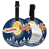 Round Travel Luggage Tags,Santa Claus Airline Theme Vintage Plane Full Moon Snow Covered Trees,Leather Baggage Tag