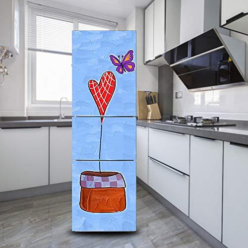 Ruifulex Adesivi Frigo Frigorifero Vintage Decalcomanie Autoadesive, Refrigeratordoor Sticker Professional Vinile Wallpaper Upgrade, Cuore E Farfalla 60x150cm