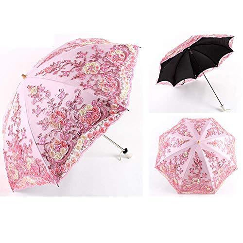Hochzeits-Spitze-Regenschirm, Regen Sonnenschirm for Frauen, Handbuch 2-fach Anti UV Regenschirm, Künstlerische Spitze-Regenschirm Exquisite Sonnenschirm, Folding Regenschirme for weiblich, Schwarz dm
