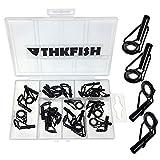 THKFISH Kit de réparation pour canne à pêche - Kit de réparation de pointe en acier inoxydable et céramique - 6 tailles - 30 pièces - Grand style