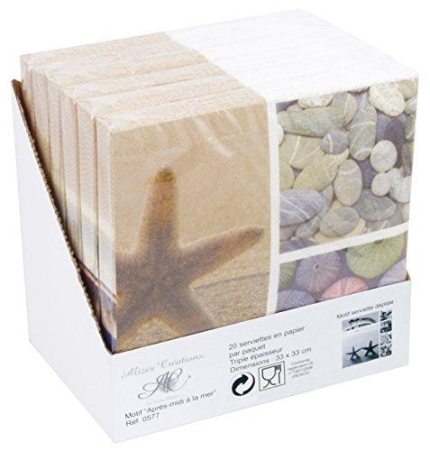 Générique 577 Serviette Papier Après Midi à la Mer Multicolore Présentoir de 6 Paquets de 20 Serviettes 33x33 cm