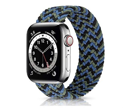 YGGFA Correa elástica de nailon para Apple Watch 6 Se Band para IWatch Serie 5 4 3 Correa trenzada Solo Loop 38 mm, 40 mm, 42 mm, 44 mm (color de la correa: azul verde, tamaño: 42 44 mm S)
