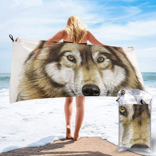 Gebrb Duschtücher,Badetücher,Strandtücher,Brown Wolf Head Microfiber Fast Drying Towels Suitable for Camping, Backpacking,Gym, Beach, Swimming,Yoga
