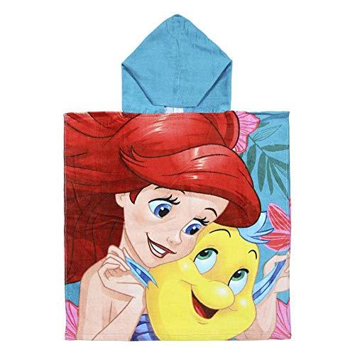 Cerdá 2200003881 Poncho Algodón Princess La Sirenita, azul, 50x115cm