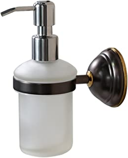 CRO DECOR Hand Soap Dispenser Oil Rubbed Bronze Wall Mount Liquid Soap Dispenser for Bathroom Kitchen Sink Dish Wash, Solid Brass Holder-Rust Resistance, Chrome Pump (8 oz)