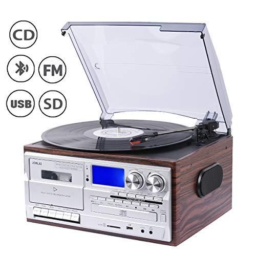 JORLAI 33/45/78 Giradischi con Bluetooth, Lettore CD e vinile, Riproduzione e Registrazione USB/SD, Lettore Cassette, PLL, Radio FM, Jack AUX da 3,5 mm, Uscita Linea per Altoparlante Esterno