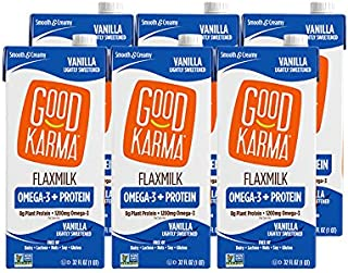 Sponsored Ad - Good Karma Plant-Powered Flaxmilk, Unsweetened, 32 oz Shelf-Stable Carton (Pack of 6) Dairy-Free, Plant Bas...