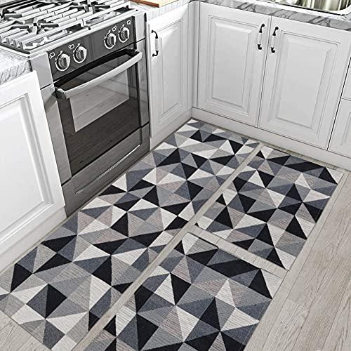 Kit de Tapete Antiderrapante para Cozinha 3 peças Mosaico Preto