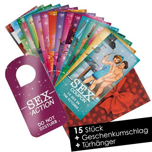 15 Sex Gutscheine Sex Karten für Paare - Sex Cards als Geschenk für Freund Freundin Paare - Erotische Geschenke für den Partner - Mit Türschild
