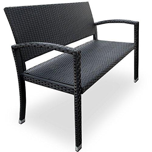 Deuba Banco de Poliratán de 2 plazas 122x87x60cm con reposabrazos Respaldo sofá Muebles para jardín terraza balcón Patio ⭐