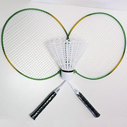 Set de badminton XXL avec 2 raquettes, 1 plume, 1 sac de bal, 1 sac de loisirs, 1 jeu de sport vert