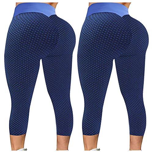 KYZRUIER Pantalones de yoga con textura de panal, 2 piezas, cintura alta fruncida, elástica, gimnasio, entrenamiento, correr, fitness, deportes