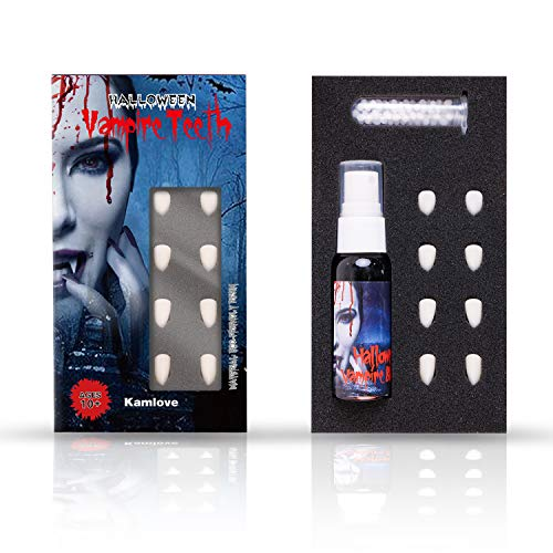PTG Vampire Fangs Teeth with Adhesive 4 Sizes & 1 oz Fake Blood Spray Makeup,Halloween Party Cosplay Props Decoration,Vampire and Monster Dress Up