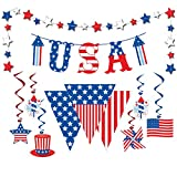 ★ Super Value Pack -- The Patriotic Decorating Kit shows off your patriotism and adds patriotic color to any celebration, such as 4th of July, Veterans Day, Memorial Day, Labor Day and other patriotic events! ★ Hanging Swirls Decorations -- The pack ...