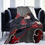 Ahdyr - Manta de Forro Polar Suave, colchón de Cama de Anime japonés Na-ruto I-tachi U-chiha Resistente a Las Arrugas, Manta de Felpa de Lana Peluda Lavable para sofá de Viaje en avión, 50 x 40 pulga