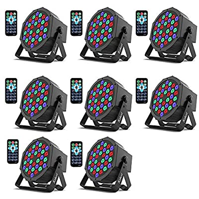 Kebert Par Lights, 36 X 1W RGB Led DJ Stage Lights with Remote Control Compatible with DMX, Sound Activated Stage Light, 9 Modes DJ Lights for Wedding Bar Party Church DJ Show - 8 Pack
