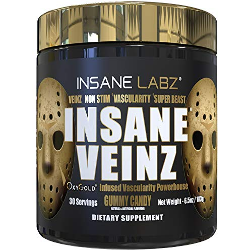 Insane Labz Insane Veinz Gold, Nitric Oxide Non Stimulant pre Workout Powder, Loaded with Hydromax, Nitrosigine, Increases Vascularity and Blood Flow, 30 Srvgs, Gummy Candy