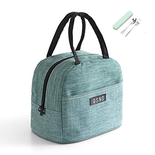 Lunch Bag with Cutlery Set,Insulated Lunch Tote Bag Leak-Proof Lunch Box Resuable Cooler Bag with Front Pocket Large Picnic Bag for Women, Men,Teen and Kids