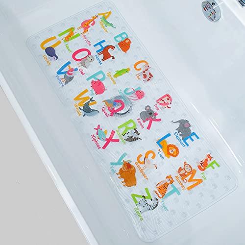 BEEHOMEE Tapis de douche / bain, antidérapant, protection anti-moisissures, pour enfants et bébé, 90 x 40cm, taille XL, motif de zoo