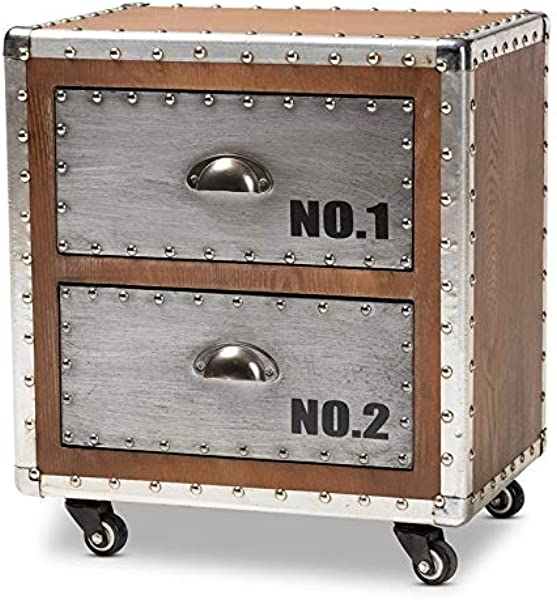 Baxton Studio Avere Brown Wood And Silver Metal 2 Drawer Nightstand
