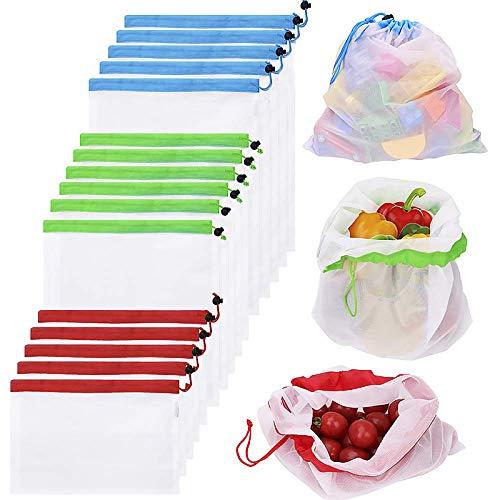 Bolsas Reutilizables Compra, Vagalbox 16 Unidades Ecológicas Bolsa de Malla, para Almacenamiento Frutas/Verduras, Juguetes, Lavable y Protección del Medio Ambiente, 3 Diversos Tamaños