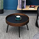 N/Z Living Equipment Round Coffee Tables Natural Wood Tea Table Nordic Nesting Tables Waterproof Easy Assembly Bedside Nightstand Side Tables for Living Room