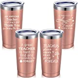 4 Pieces Teacher Travel Mug Set, Teacher Appreciation or Birthday Graduation Gift Idea for Him or Her, 20 oz Double Wall Vacuum Mug Tumblers with Lids Straws and Brushes (Rose Gold)