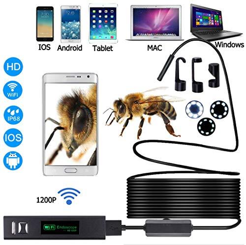Premewish Endoscopio WiFi Telecamera Boroscopio Impermeabile Telecamera 1200P con Regolabile 8 LED per iOS Android Windows (10M)
