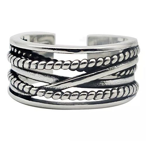 iszie, Retro-Ring, Modeschmuck Sterlingsilber, verdreht, verstellbare Öffnung