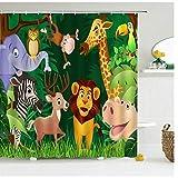 Cartoon-Tier-Badezimmer-Gardinen, Duschvorhang, mit Haken, wasserdicht, Polyester, 25 cm, 180 x 200 cm
