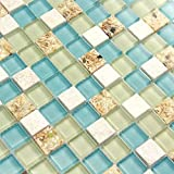 Wall Tiles White Stone Mosaic Tiles Glass Blue Conch Sea Shell Borders Kitchen Backsplash Materials Beach Style Tile [Pack of 11PCS(11.8x11.8x0.31 Inches/Each)]