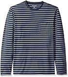 Amazon Essentials Men's Slim-Fit Long-Sleeve Pocket T-Shirt, Navy/Light Grey Heather Stripe, Large