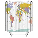 Dimaka Shower Curtain for Girls and Kids, Bathroom Decoration Design Decor,Waterproof Resistant Fabric Shower Curtain for Bathroom [Educational Geography] (71' W x 71' L, World Map with Cities)