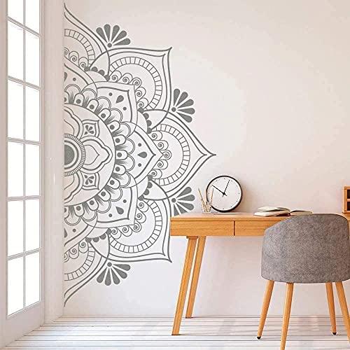 Mandala en la mitad de la pared de la etiqueta engomada de vinilo desprendible para la meditación yoga arte de la pared de la sala de estar dormitorio Mural 113 x 57 cm, tamaño C (35 rosa suave)
