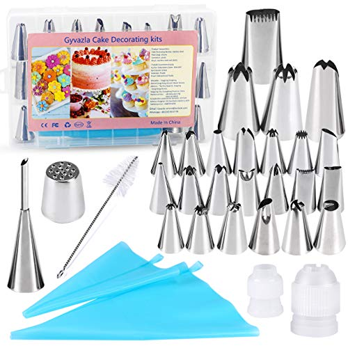 Gyvazla 31 Pcs Cake Decorating Set, 24 Stainless Piping Nozzles and More...